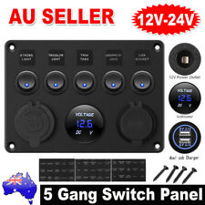 12V 5 Gang ON-OFF Toggle Switch Panel 2 USB Charger for Car Boat Marine RV Truck