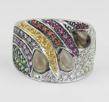 Diamond and Multi Color Sapphire Ring Anniversary Band 18K White Gold Size 6.75