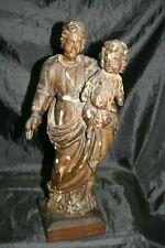 statue sculpture en bois enduit Vierge à l'enfant XVIII ème