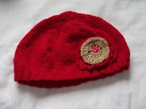 Ladies Hand Knit Red Glittery Hat with Gold and Red Flower & Button - BNWOT