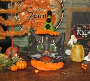 Prim Antique Vtg Style Halloween Lg Paper Mache Scardey Sassy Black Cat Bucket