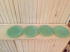 VINTAGE FIRE KING JADITE GREEN RESTAURANTWARE SALAD PLATES/4