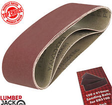 """3 x Lumberjack 4"""" Assorted Sanding Belts for EBS100 Belt Sander 40 80 & 120 Grit"""