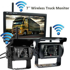 "7"" HD Monitor+2 Wireless Reversing IR Backup Camera for Truck Trailer Bus RV Kit"