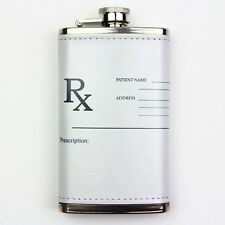Leather Wrapped 6oz Stainless Steel Flask FSK1226 Prescription Rx Nurse Doctor