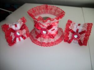 3PC RED AND GOLD DECORATED SOAP AND TISSUE COVER SET