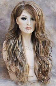 Long Loose wavy Full Human hair Blend wig bangs Heat OK Blonde mix wnta 14-22