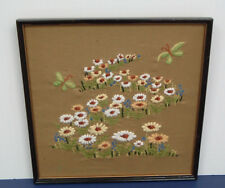 vintage  crewel embroidery finished framed field of flowers with butterflies