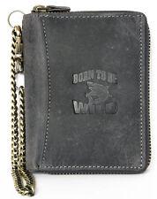 Men's grey zip-around genuine leather wallet Born to be wild with shark + chain