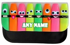 PERSONALISED FUNNY HIGHLIGHTERS PRINT SCHOOL PENCIL CASE MAKE UP BAG BIRTHDAY