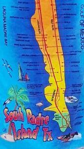 """South Padre Island Texas Beach Towel Map Souvenir 30"""" x 56"""""""