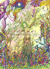 Tree Lady card, drawn in UK birthday, blank greetings meditation Pagan New baby