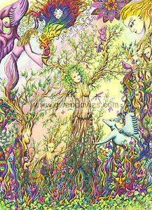 Tree Lady card, drawn in UK birthday, blank greetings meditation Pagan New baby