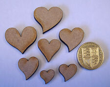 100 MDF Wooden Assorted Sized Hearts, Florist, Flowers, Craft, Decoration