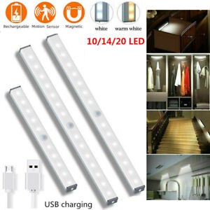 Wireless LED PIR Motion Sensor Closet Lights USB Rechargeable Light Strip Lamps