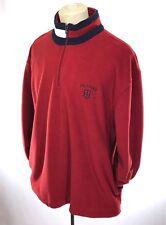 VTG 90's TOMMY HILFIGER Red Fleece Pullover Jacket Color Block Flag sz L Sweater