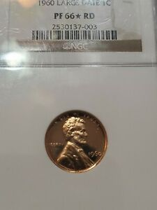 1960 LARGE DATE LINCOLN CENT NGC PF 66* RD