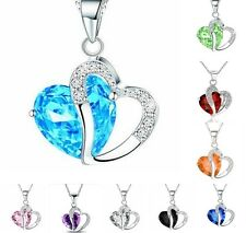 Fashion Women Pendant Jewelry Crystal Heart Silver Colour Necklace+Chain