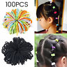 100PCS Candy Color Hair Ropes rings Elastic Rubber Bands For Adult Kids Girl UK
