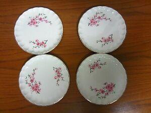 "4 Vintage W.S. George Bread Plates Pink Flowers Gold Trim 6 1/2"""