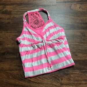 JUSTICE Sweetheart Neck Lace Trim Back Pink Striped Sundress Girl's Size 12