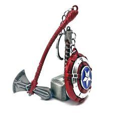 Thor Hammer, Stormbreaker Axe & Captain America Shield Keyring/Keychain Combo