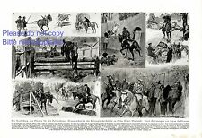 Police horse training in Imber Court German art print 1925 by Bryan de Grineau