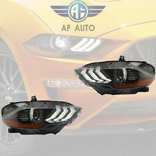 Pair Left & Right Side LED Headlights For 2018 2019 Ford Mustang Dual Beam DRL