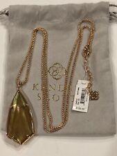 "New! Kendra Scott Carole Long Pendant Necklace Rose gold 30"" w/pouch $100"