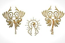 Showgirl Gold Tone Pasties Nipple non piercing stick on Butterfly Sexy Pasty