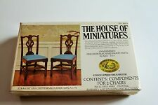 DOLL HOUSE OF MINIATURES CHIPPENDALE STRAIGHT LEG ARM CHAIRS KIT, DINING ROOM