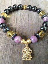 ॐCrystal Blissॐ Tourmaline Hematite Reiki Yoga Bracelet SILVER Ganesh Charm
