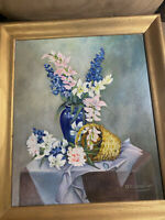 """O Mennetrier """"Still Life With Flowers Scene"""" Oil Painting - Signed And Framed"""