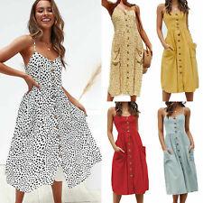 Womens Holiday Strappy Button Pocket Ladies Summer Beach Midi Swing Sun Dress UK