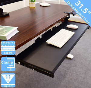 Seville Classics Keyboard Tray Airlift 360 Clamp-On Extra-Wide Under Desk Shelf,