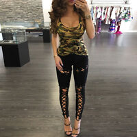 Women Sexy Tie Up Cut Out Legging Pants Skinny Stretchy Bandage Trousers Clothes