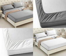 600TC 30CM FITTED SHEET 100% EGYPTIAN COTTON HOTEL QUALITY DOUBLE SUPERKING SIZE