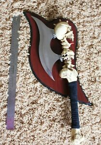 Vintage Axe Head & Bone With Skeleton Skull Stainless Metal XL0911 W Plaque hang