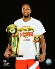 Kawhi Leonard 2019 Toronto Raptors NBA Championship Trophy & MVP 8x10 Photo