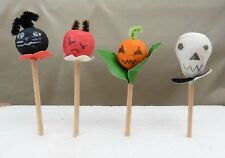 4 Vintage Halloween Pressed Cotton Party Picks Toothpicks