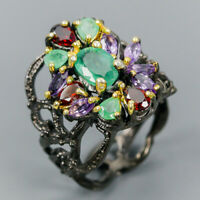 Top Color A8x6mm Natural Emerald 925 Sterling Silver Ring Size 8/R115588