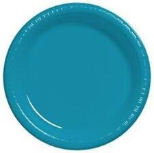"""Turquoise 9"""" Plastic Plates 20 Per Pack Turquoise Decorations & Party Supplies"""