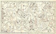 Antique print Celestial map Star chart 1863 Sternkarte holzstich Carta celeste 2