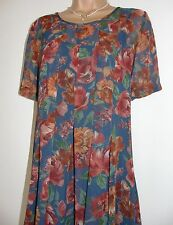 Laura Ashley vintage rust floral voile chiffon pleated smock short dress, 12 UK