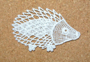 Animals - Hedgehog - sew-on lace motif/applique/patch/craft/card making