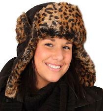 LADIES ADULT BLACK SUEDE LEOPARD FUR RUSSIAN TRAPPER HAT WARM WINTER SKI HAT NEW
