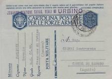A424) WW2, BOLLO COMANDO STAZIONE CARABINIERI REALI DI URBINO SU FRANCHIGIA.