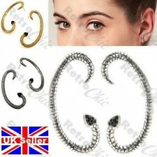 ASOS SNAKE goth EAR CUFF PAIR EARRINGS jet crystal BLACK/ANTIQUE SILVER PLATED