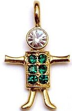 * *  Birthstone Brats Child BOY MAY Gold charm - Emerald  *  *