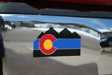 Colorado State Flag Thin Blue Line Rocky Mountains Die-Cut Sticker